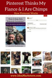 Pinterest thinks my fiance and I are chimps. How Pinterests works. How it decides what images are about.